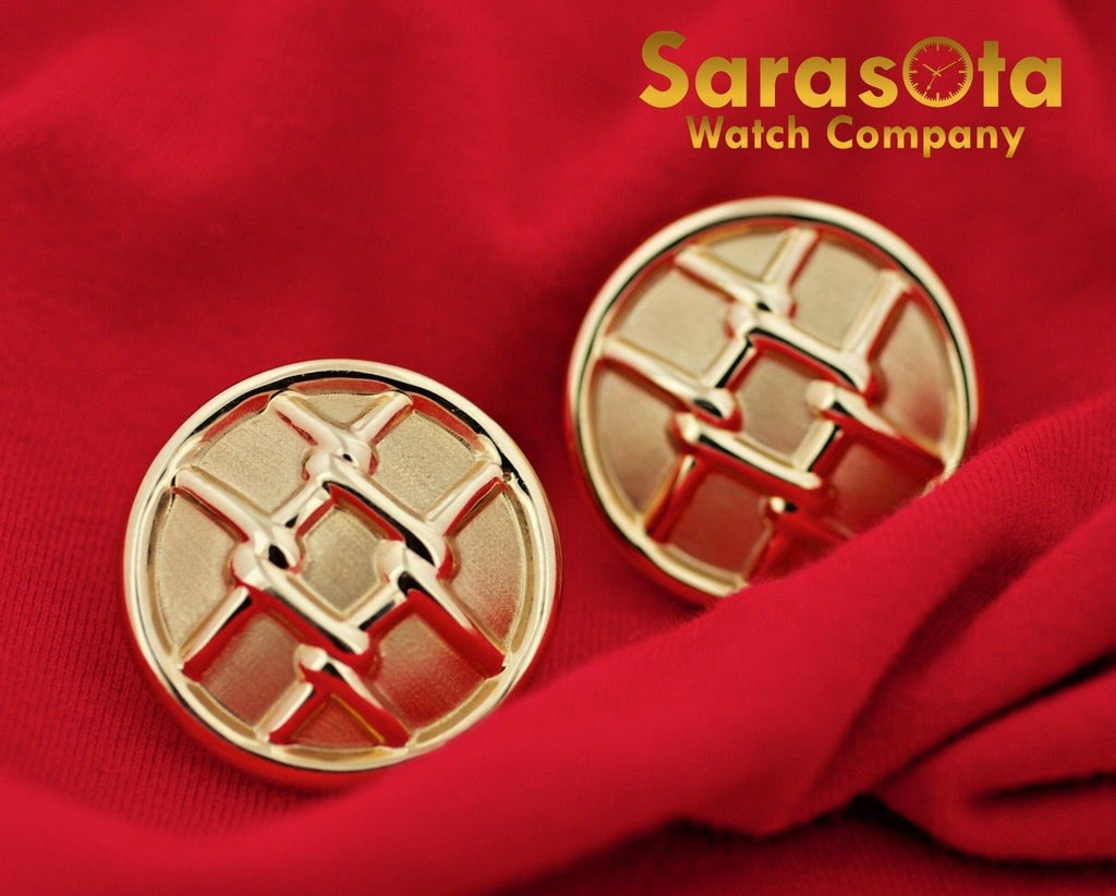 14K Yellow Gold Hollow Round Disc Grid Design French Clip Women's Earring's - Sarasota Watch Company