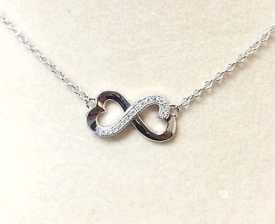 Sterling Silver 925 Intertwining Hearts Cubic Zirconia Necklace Beautiful Piece