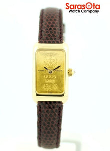 Vintage Corum Gr.5 Ingot Bar 18k Gold Swiss Quartz Lizard Dress Women's Watch