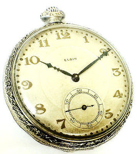 Elgin Natl. Watch Co. Pocket Watch 14K White Gold Filled 15 Jewels White Dial