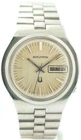 Vintage Accutron N1 Stainless Steel Silver Dial Day Date Men's Watch
