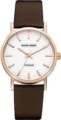 Danish Design IQ17Q199 Rose Gold Titanium Case Brown Strap Dress Men's Watch