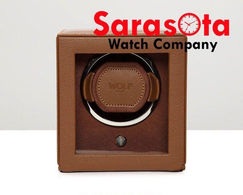 Wolf Designs 461127 Cognac Single Cub Watch Winder With Cover