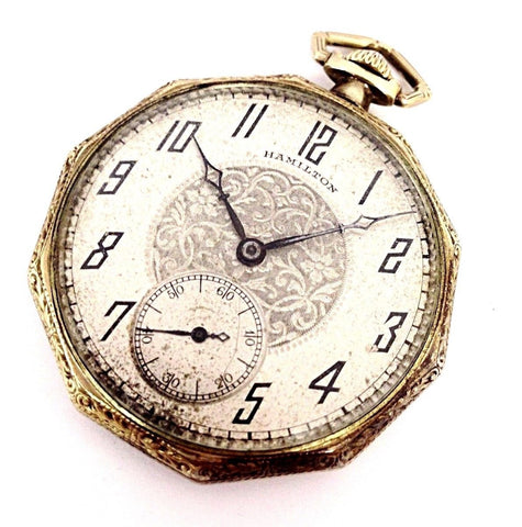 Vintage Hamilton 912 17 Jewels 14K Gold Filled Open Face Pocket Watch