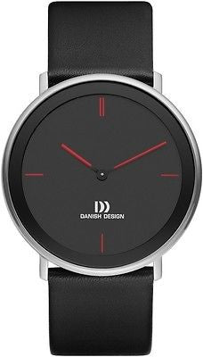 Danish Design IQ14Q1010 Black Dial Red Markers Leather Band Men's Watch