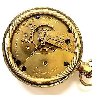 ELGIN Natl.Watch Co. Pocket Watch Gold Plated Arabic/Roman Numerals White Dial