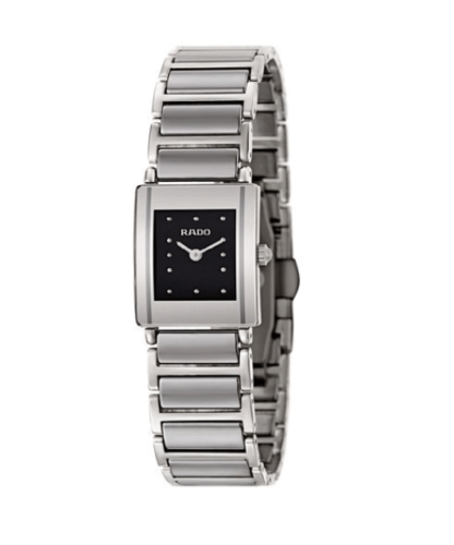Rado Integral R20488172 Gray Platinum Ceramic Steel Black Dial 18mm Ladies Watch - Sarasota Watch Company
