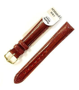 HIRSCH Reptile Royal Genuine Leather 16 mm Regular Brown Stitched Watch Band