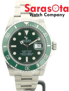 ROLEX Submariner HULK 116610 Green Ceramic 40mm Steel Automatic 2014 Wrist Watch