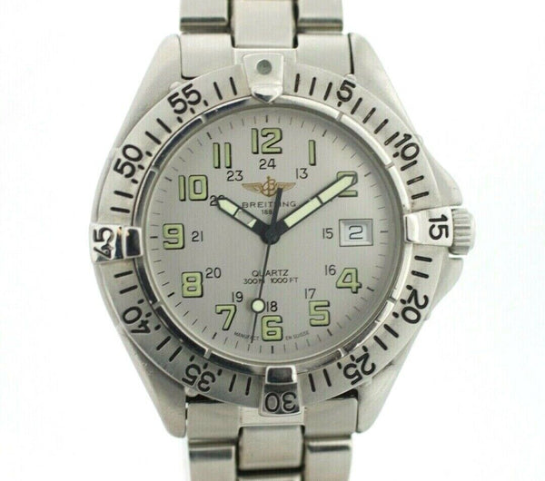 Breitling Colt A57035 Gray Arabic Dial Stainless Steel Quartz 300M Wrist Watch