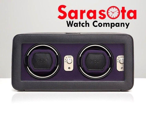Wolf Design 452603 Black/Purple Finish Windsor Double Cover Watch Winder