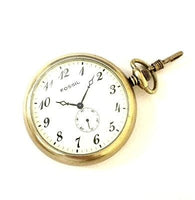 Vintage Fossil VT-2520 Gold Plated Arabic Numeral White Dial Pocket Watch
