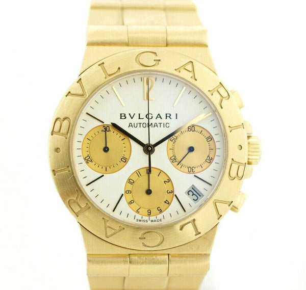 BVLGARI Diagono CH 35 G D1322 Chronograph 18k Yellow Gold Automatic Wrist Watch