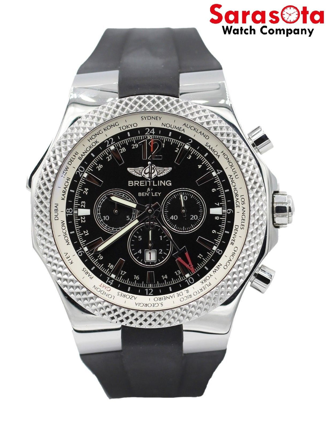 Breitling Bentley GMT Mens Rubber Strap Automatic Watch A4736212-B919