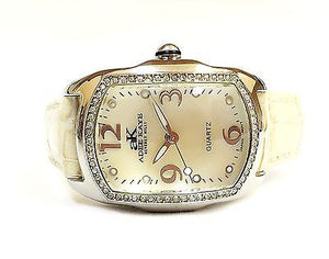 Adee Kaye AK85-1L Mother of Pearl Dial Crystal Bezel Leather Analog Womens Watch - Sarasota Watch Company