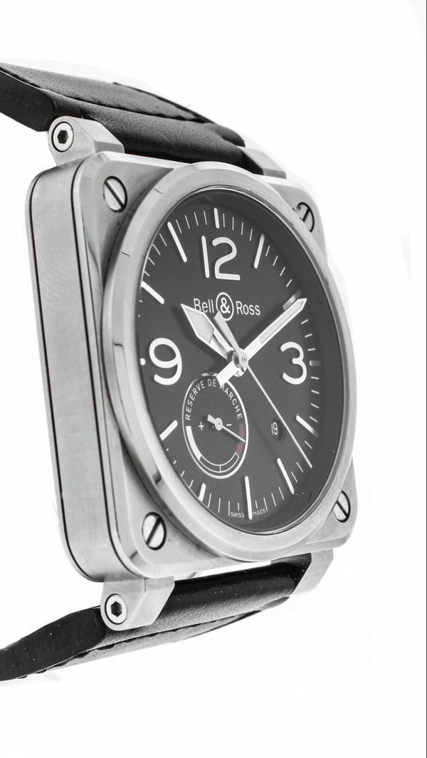 Bell&Ross BR03-97 Aviation Power Reserve Steel Leather Automatic Wrist Watch
