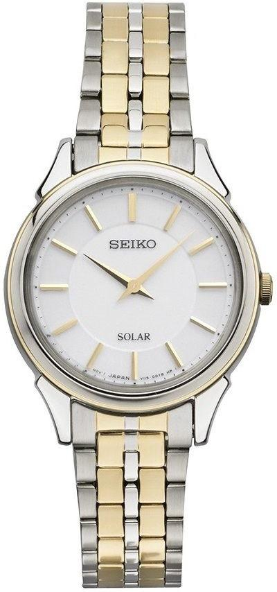 Seiko Core SUP344 White Dial Two Tone Stainless Steel Solar Women's Watch - Sarasota Watch Company
