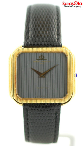 Baume&Mercier 18K Yellow Gold Lizard Band Swiss Quartz Dress Men's Watch