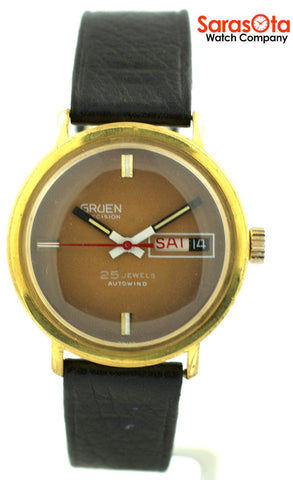 Gruen Precision 25 Jewels Automatic Gold Plated Steel Case Leather Mens Watch