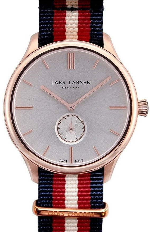 Lars Larsen Simon 122RBNN Rose Gold Case Nylon Band Silver Tone Dial Men's Watch