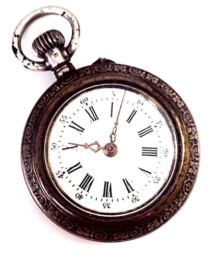 Swiss Pocket Watch Coin Silver Size 3/0 Open Face Engraved Pocket Watch