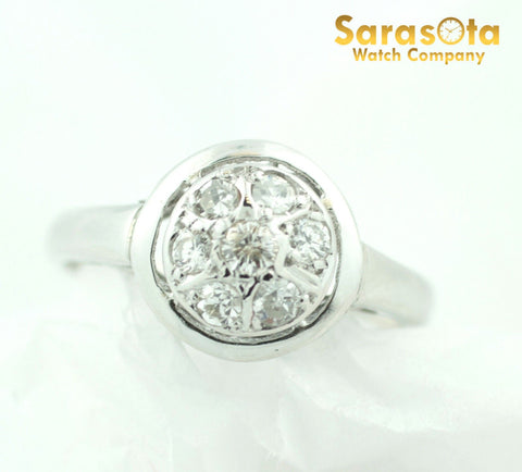 14K White Gold 0.75Ct G/SI2 European Cut Cluster Women's Ring Size 5.5 - Sarasota Watch Company