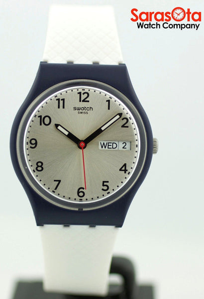 Swatch Day/Date Silver Dial White Rubber Blue Plastic Case Quartz Women's Watch