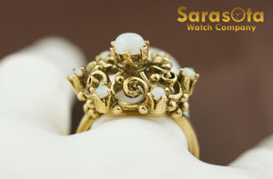 14K Yellow Gold Cabochon Opals Women's Ring Size 7.75 - Sarasota Watch Company