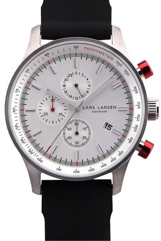 Lars Larsen Storm 133SWBS Black Silicone Band Stainless Steel Case Men's Watch