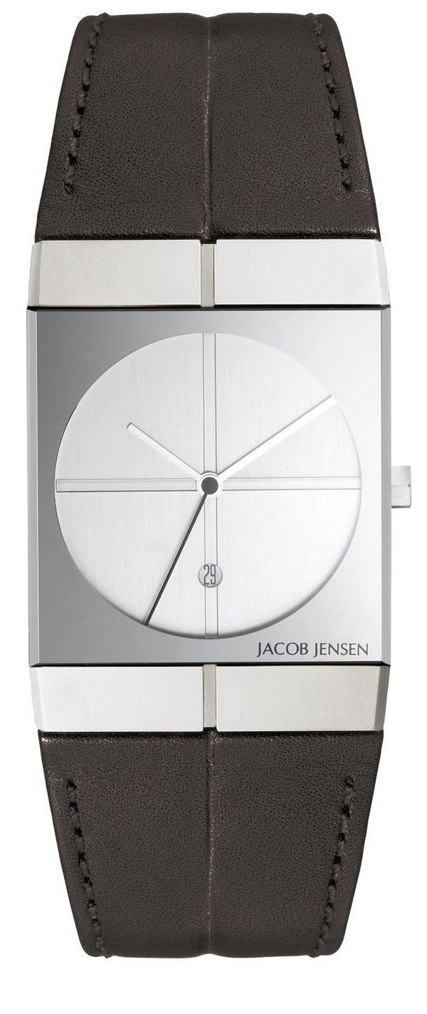 Jacob Jensen Icon Series 232 Stainless Steel Black Leather Quartz Men's Watch