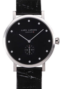 Lars Larsen Tristan 132SBBL Stainless Steel Case Leather Band Men's Watch