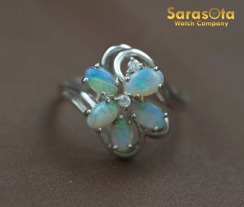 14K White Gold Cabochon Opals Diamond Accented Cocktail Women's Ring Size 6.25 - Sarasota Watch Company