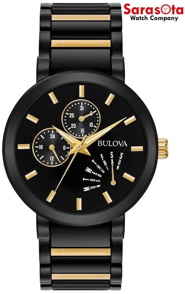 Bulova 96C124 Black Dial Two Tone Stainless Steel Day Date Quartz Men's Watch
