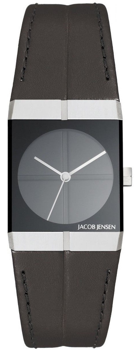 Jacob Jensen Icon Series 240 Stainless Steel Black Leather Quartz Women's Watch