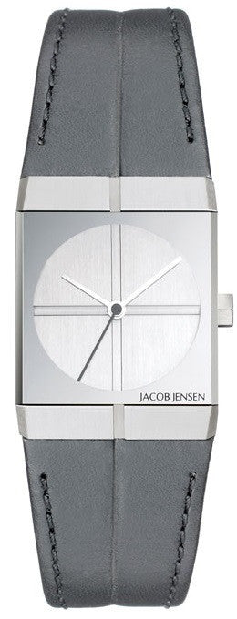 Jacob Jensen Icon Series 242 Stainless Steel Black Leather Quartz Women's Watch