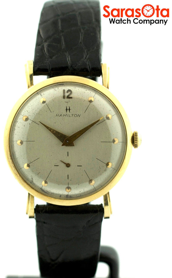 Vintage Hamilton 14K Gold Case Leather Strap Silver Dial Dress Men's Watch