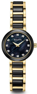 Bulova 98P159 Black MOP Diamond Dial Ceramic/Stainless Steel Women's Watch