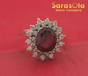 14K White Gold Synthetic Ruby/Diamond 0.60Ct Solitaire Women's Ring Size 6.25 - Sarasota Watch Company