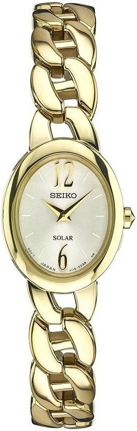 Seiko Core SUP338 Champagne Dial Gold Tone Stainless Solar Petite Women's Watch