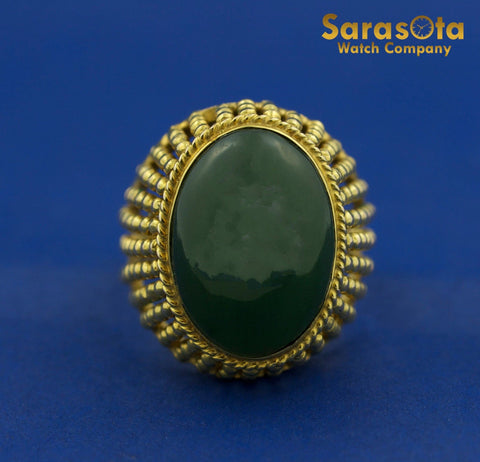 18K Yellow Gold Oval Jade Bead Style Solitaire Women's Ring Size 7.5 - Sarasota Watch Company