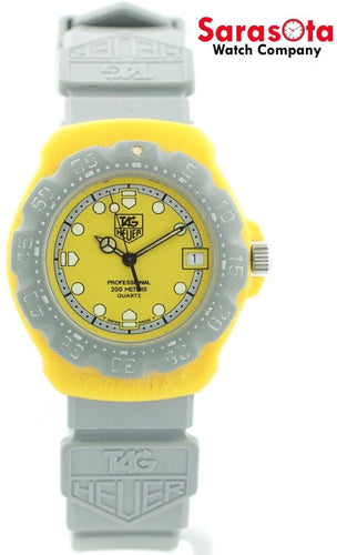 Tag Heuer Professional 382.513 Yellow Dial Grey Silicone Quartz 200M Women's Watch