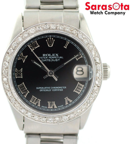 Vintage Tudor Rolex 6466 Mid Size Black Dial Diamond Bezel Winding Women's Watch