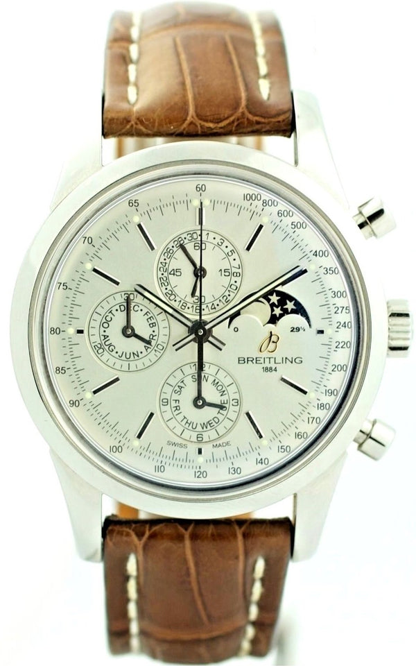 Breitling Transocean A19310 Moonphase Chrono Steel Leather Automatic Mens Watch