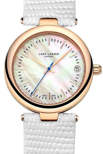 Lars Larsen 126RMWL Viviann White Dial Leather Band Rose Gold Women's Watch