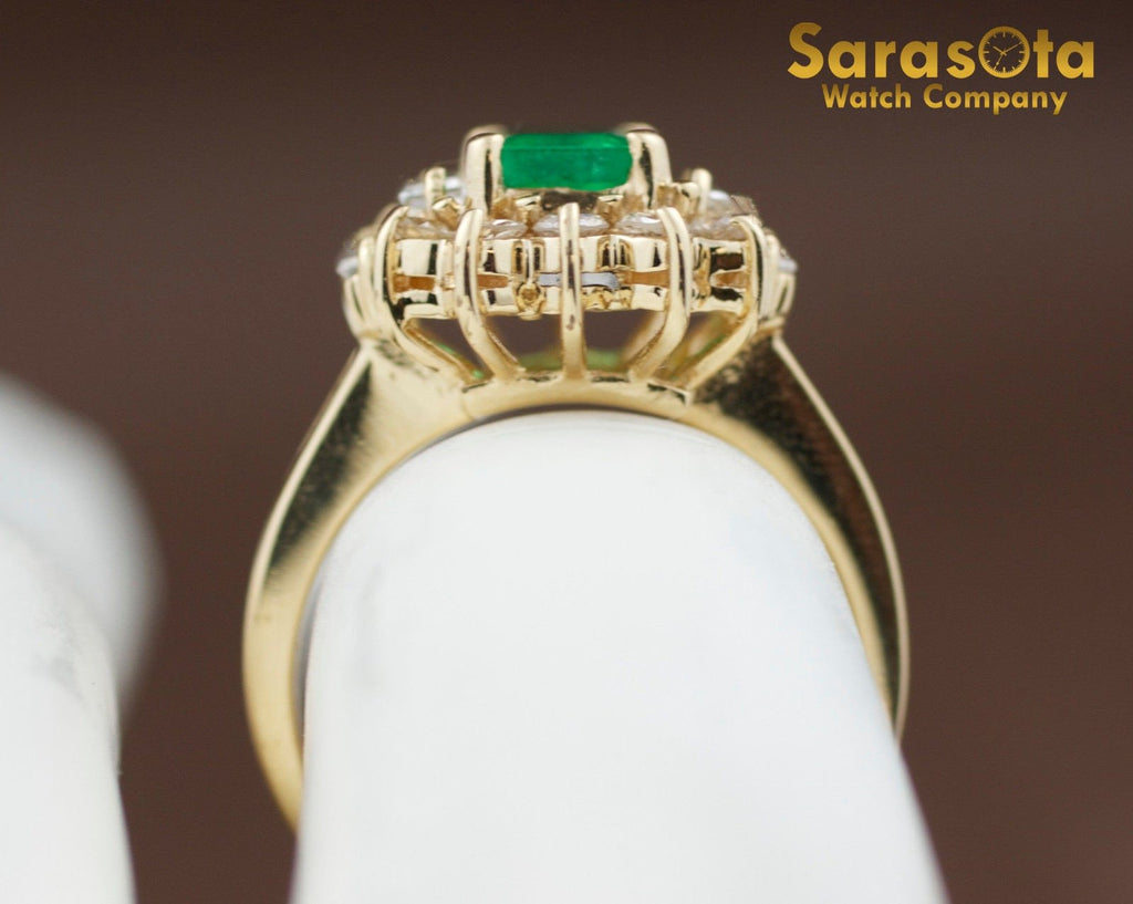 14K Yellow Gold Emerald/Diamond 0.50Ct H/SI2 Cocktail Women's Ring Size 6.5 - Sarasota Watch Company