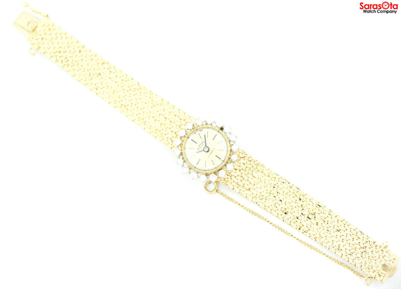 Vintage Continental Geneve 14K Solid Yellow Gold Diamond Bezel Women's Watch