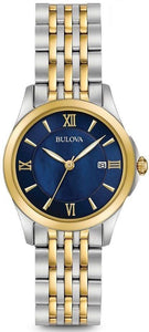 Bulova 98M124 Blue Dial Two Tone Stainless Steel Quartz Classic Women's Watch