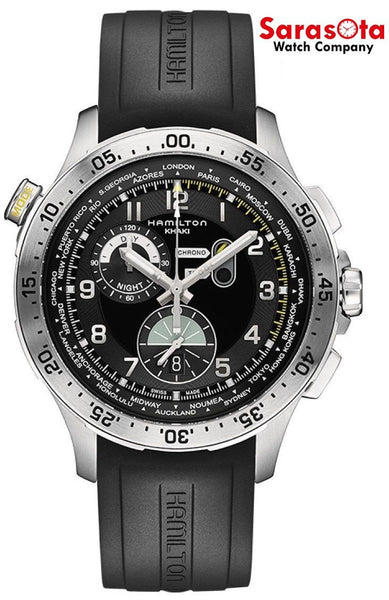 Hamilton Khaki H76714335 World Time Chrono Black Rubber Quartz Men's Watch