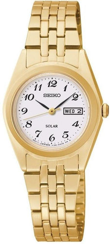 Seiko Core SUT118 White Arabic Dial Gold Tone Stainless Solar Women's Watch