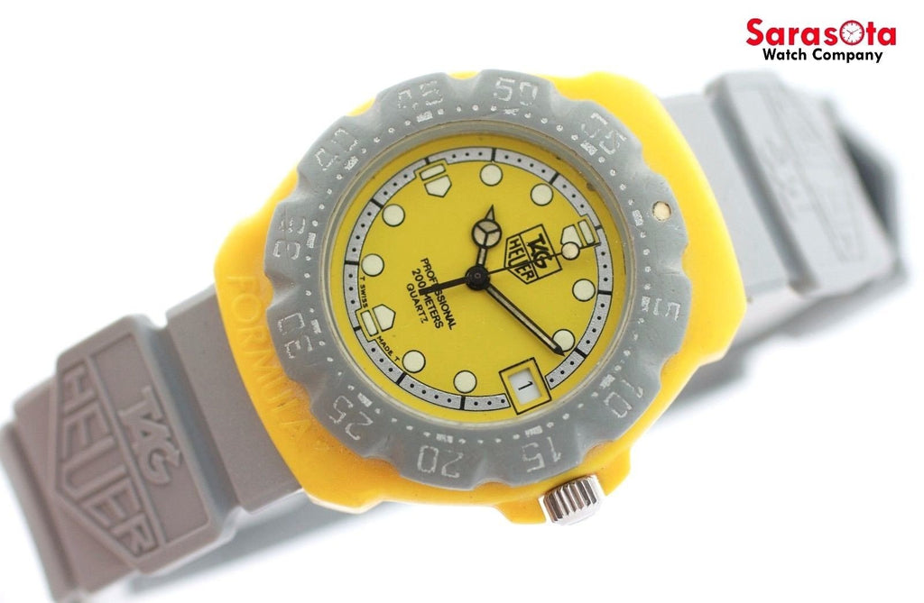 Tag Heuer Professional 382.513 Yellow Dial Grey Silicone Quartz 200M Women's Watch - Sarasota Watch Company